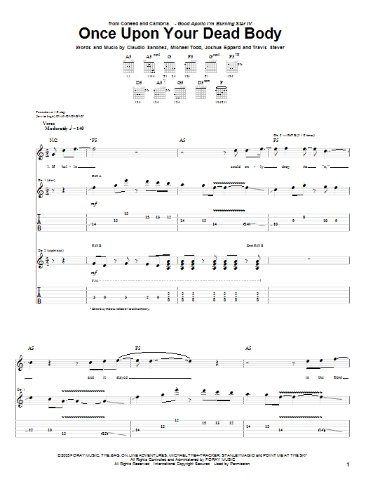 Tablature guitare Once Upon Your Dead Body de Coheed And Cambria - Tablature Guitare