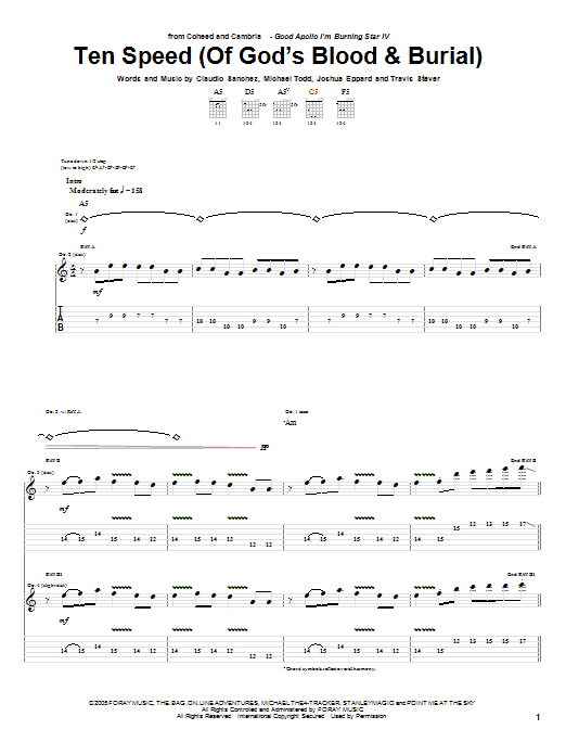 Ten Speed (Of God's Blood and Burial) sheet music for guitar solo (tablature) by Travis Stever