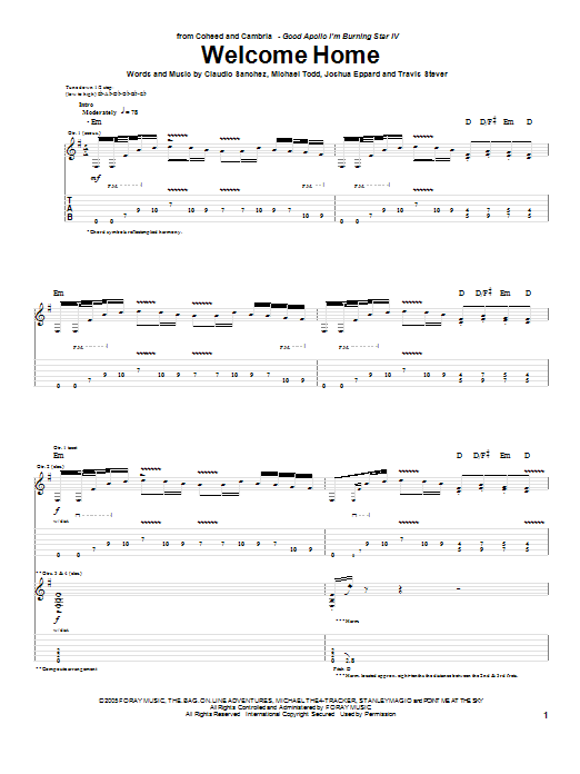 Tablature guitare Welcome Home de Coheed And Cambria - Tablature Guitare
