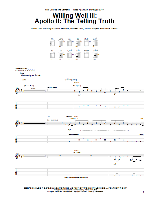 Willing Well III: Apollo II: The Telling Truth sheet music for guitar solo (tablature) by Travis Stever