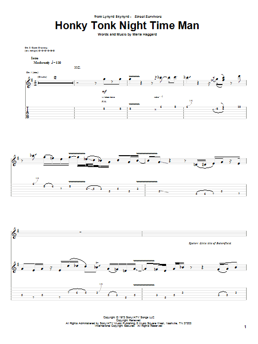 Tablature guitare Honky Tonk Night Time Man de Lynyrd Skynyrd - Tablature Guitare