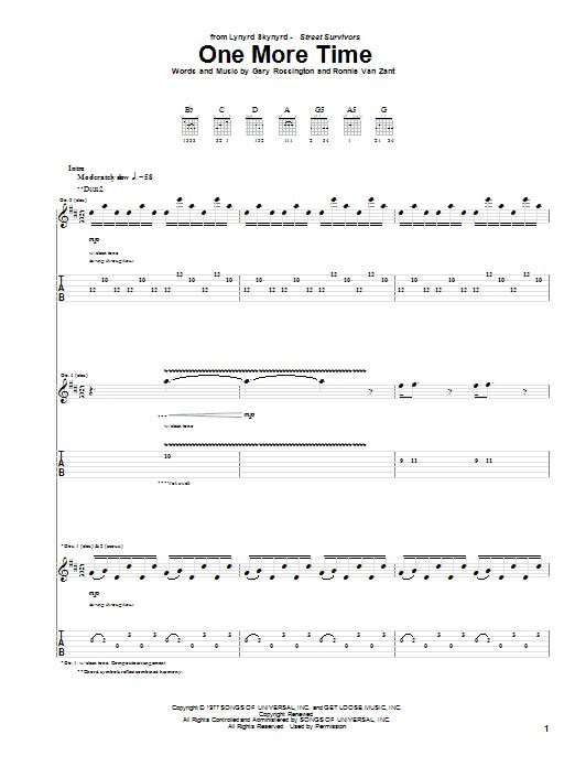 Tablature guitare One More Time de Lynyrd Skynyrd - Tablature Guitare