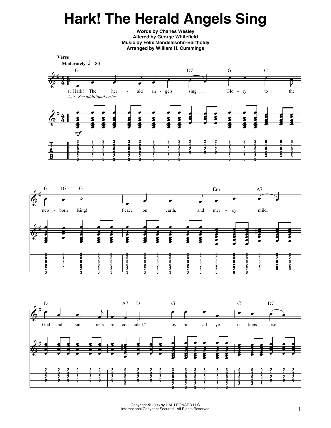 Hark! The Herald Angels Sing Guitar Tab by Charles Wesley (Guitar Tab u2013 55454)