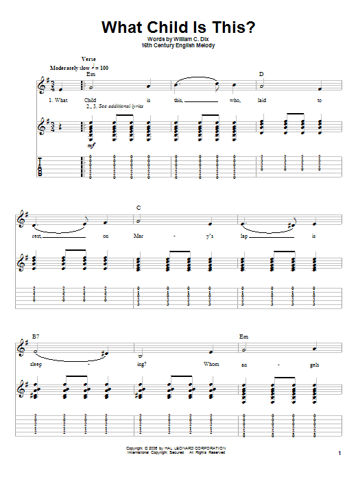 Tablature guitare What Child Is This? de William C. Dix - Tablature Guitare