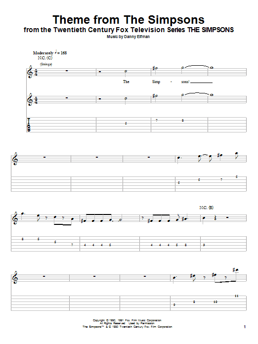 Tablature guitare Theme From The Simpsons de Danny Elfman - Tablature Guitare