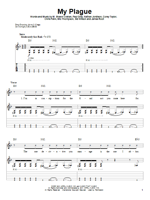 My Plague sheet music for guitar solo (tablature, play-along) by Sid Wilson