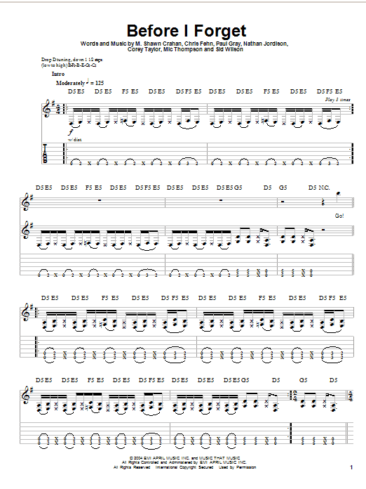 Before I Forget by Slipknot - Guitar Tab Play-Along - Guitar Instructor