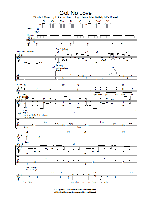 Got No Love sheet music for guitar solo (tablature) by Paul Garred