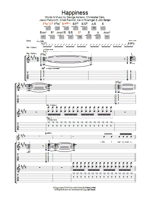 Happiness sheet music for guitar solo (tablature) by Kevin Roentgen