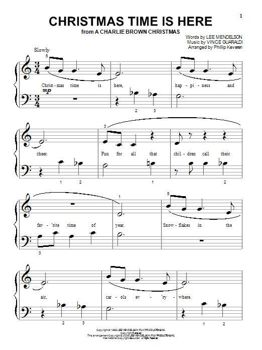Partition piano Christmas Time Is Here de Vince Guaraldi - Piano Facile