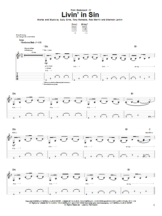 Livin' In Sin sheet music for guitar solo (tablature) by Tony Rombola