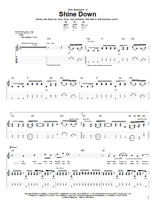 Tablature guitare Shine Down de Godsmack - Tablature Guitare