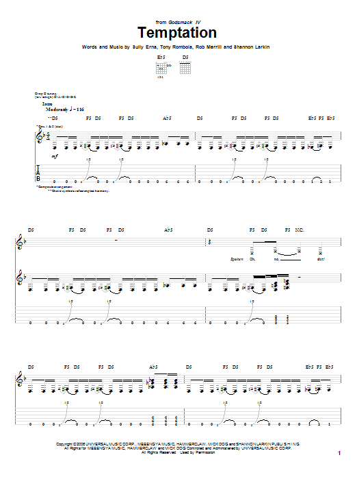Tablature guitare Temptation de Godsmack - Tablature Guitare