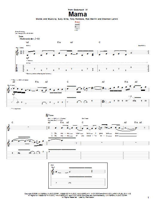 Tablature guitare Mama de Godsmack - Tablature Guitare