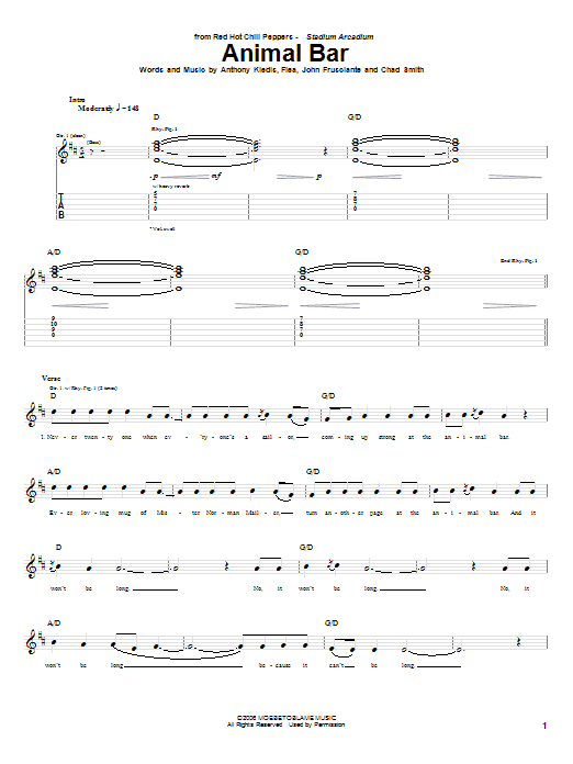 Tablature guitare Animal Bar de Red Hot Chili Peppers - Tablature Guitare