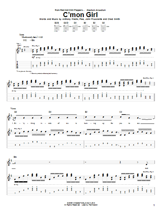 Tablature guitare C'Mon Girl de Red Hot Chili Peppers - Tablature Guitare