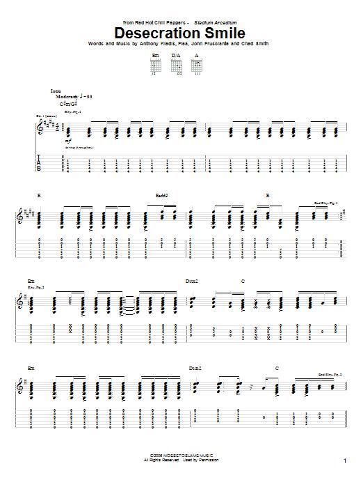 Tablature guitare Desecration Smile de Red Hot Chili Peppers - Tablature Guitare