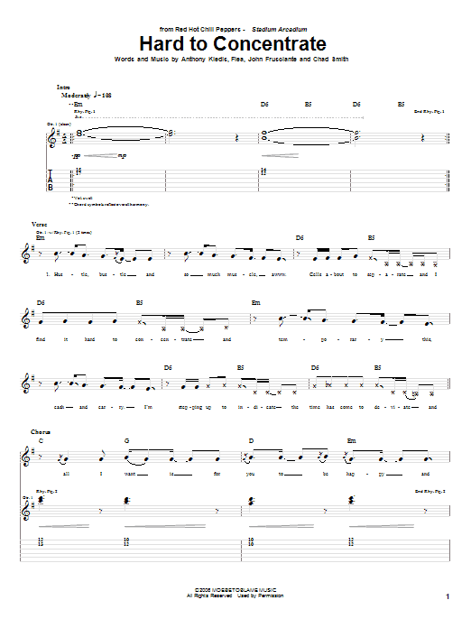 Tablature guitare Hard To Concentrate de Red Hot Chili Peppers - Tablature Guitare