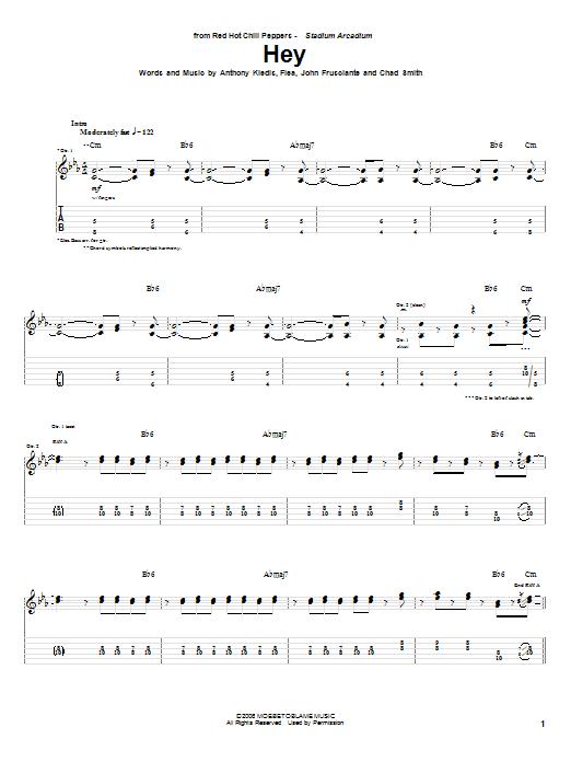 Tablature guitare Hey de Red Hot Chili Peppers - Tablature Guitare