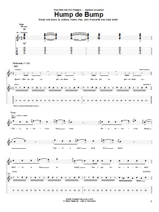 Tablature guitare Hump De Bump de Red Hot Chili Peppers - Tablature Guitare