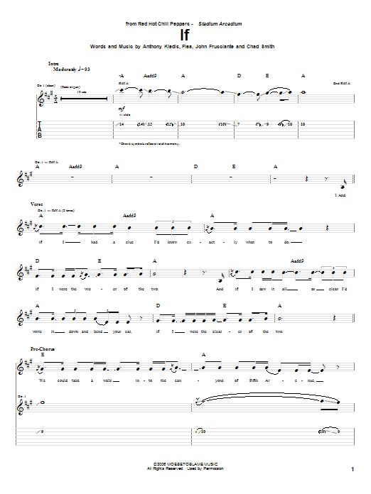 Tablature guitare If de Red Hot Chili Peppers - Tablature Guitare
