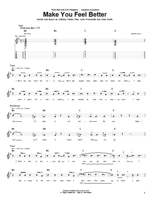 Tablature guitare Make You Feel Better de Red Hot Chili Peppers - Tablature Guitare