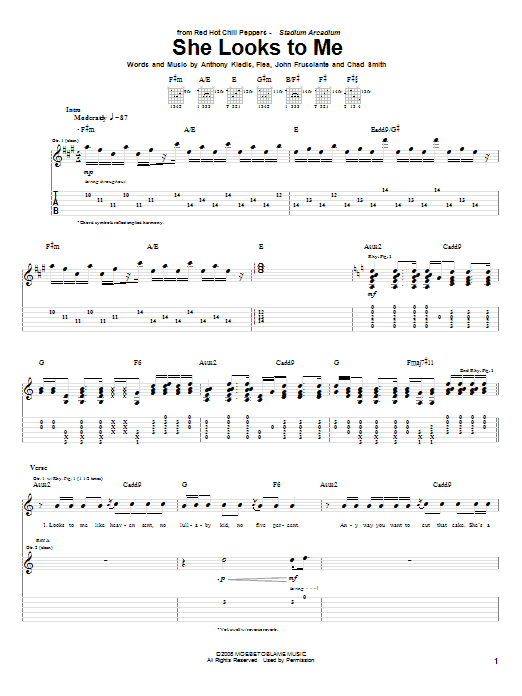 Tablature guitare She Looks To Me de Red Hot Chili Peppers - Tablature Guitare