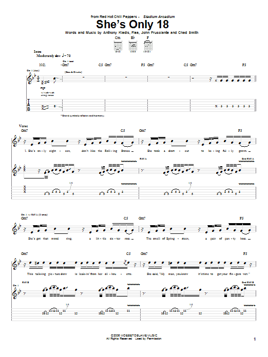 Tablature guitare She's Only 18 de Red Hot Chili Peppers - Tablature Guitare