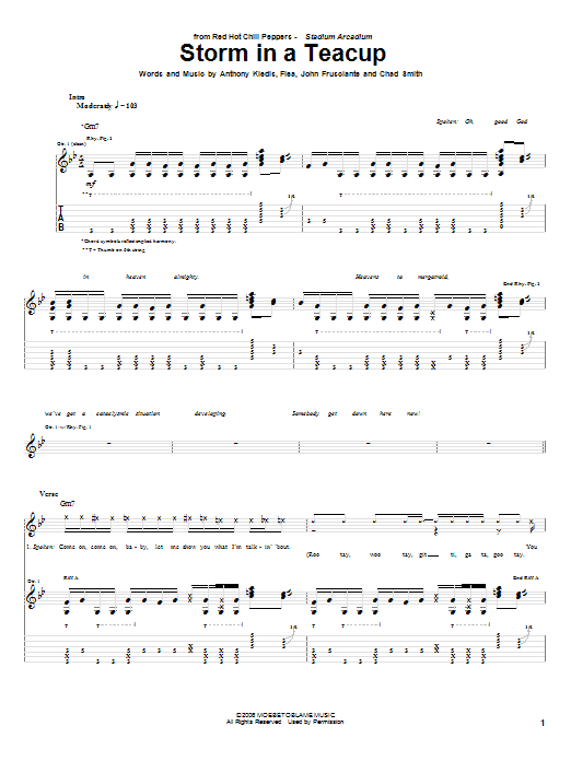 Tablature guitare Storm In A Teacup de Red Hot Chili Peppers - Tablature Guitare