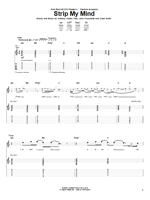 Tablature guitare Strip My Mind de Red Hot Chili Peppers - Tablature Guitare