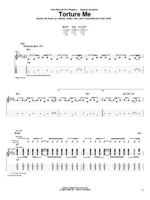 Tablature guitare Torture Me de Red Hot Chili Peppers - Tablature Guitare