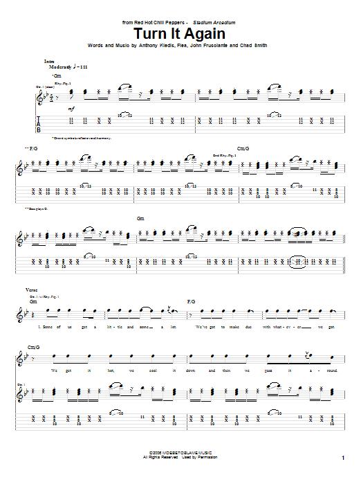 Tablature guitare Turn It Again de Red Hot Chili Peppers - Tablature Guitare