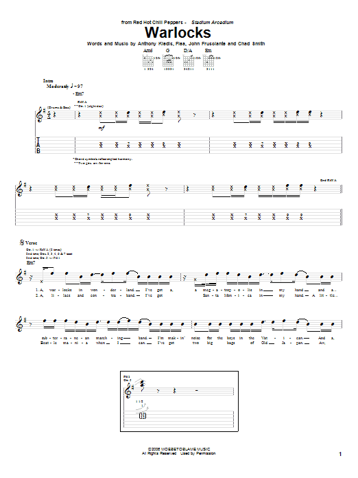 Tablature guitare Warlocks de Red Hot Chili Peppers - Tablature Guitare