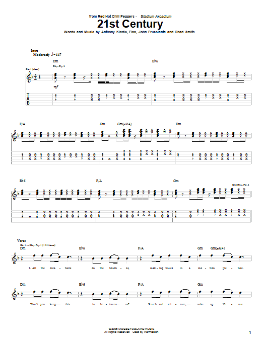 Tablature guitare 21st Century de Red Hot Chili Peppers - Tablature Guitare