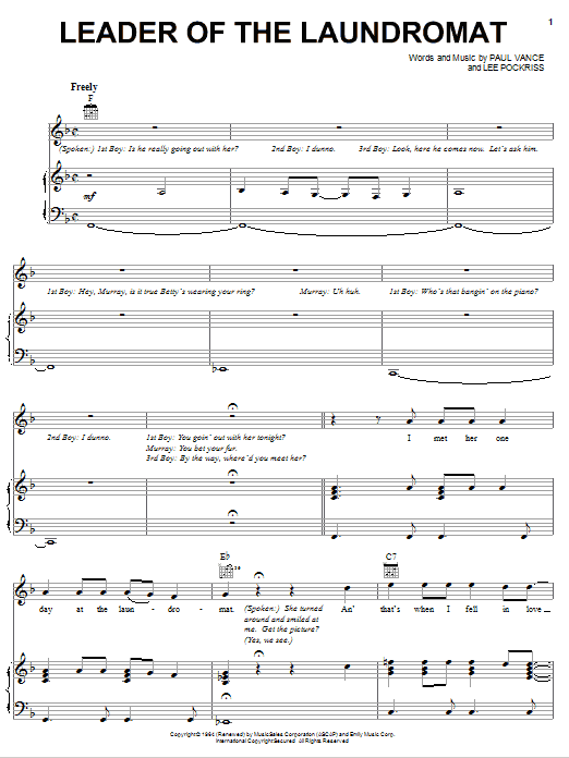 Leader Of The Laundromat sheet music for voice, piano or guitar by Paul Vance