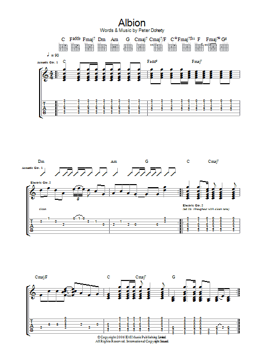 Albion sheet music for guitar solo (tablature) by Pete Doherty