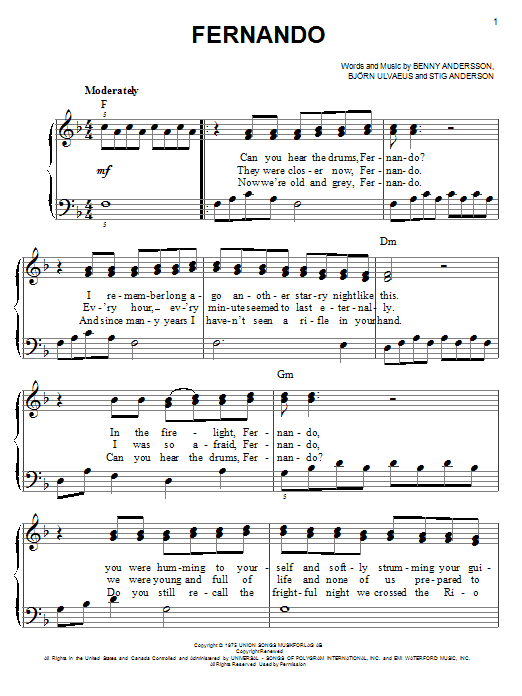 abba sos sheet music pdf