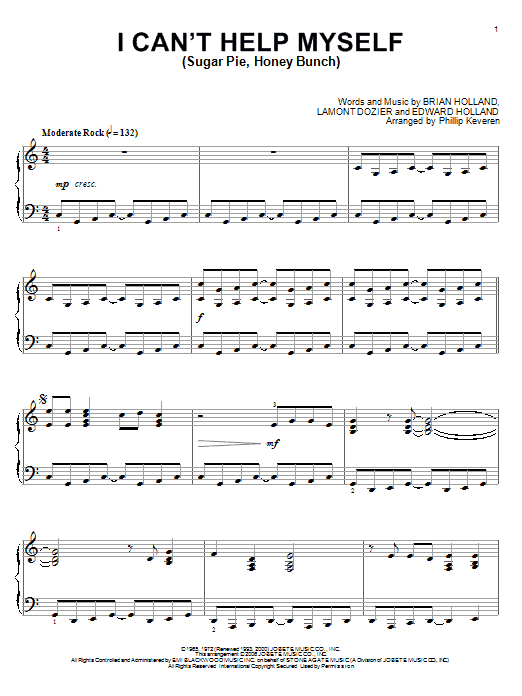 Partition piano I Can't Help Myself (Sugar Pie, Honey Bunch) de The Four Tops - Piano Solo