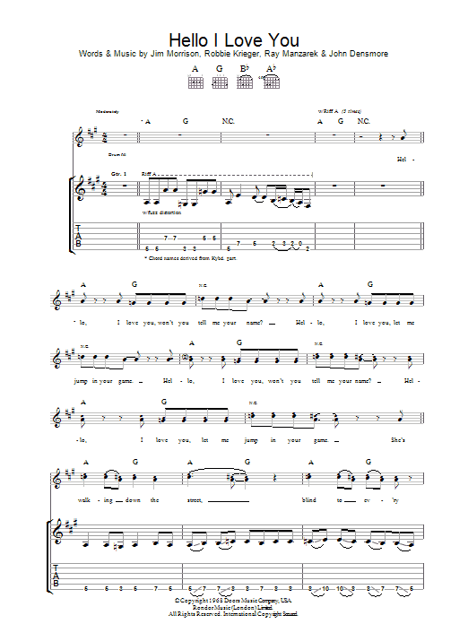 Hello, I Love You sheet music for guitar solo (tablature) by Robbie Krieger