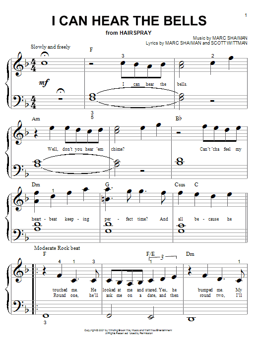 Partition piano I Can Hear The Bells (from Hairspray) de Marc Shaiman - Piano Facile