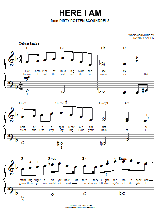 Partition piano Here I Am de David Yazbek - Piano Facile