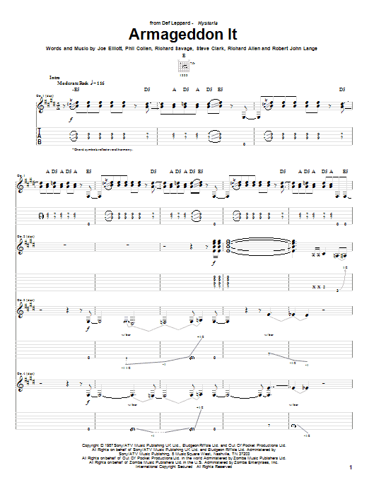 Armageddon It sheet music for guitar solo (tablature) by Steve Clark