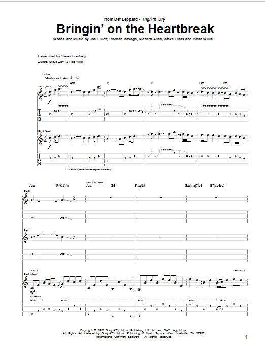 Tablature guitare Bringin' On The Heartbreak de Def Leppard - Tablature Guitare