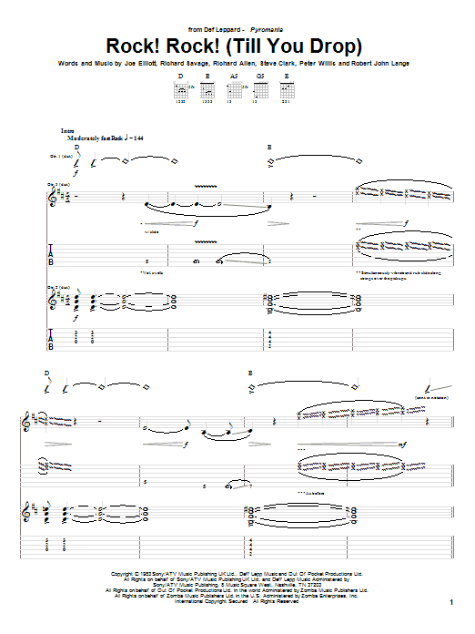Tablature guitare Rock! Rock! (Till You Drop) de Def Leppard - Tablature Guitare
