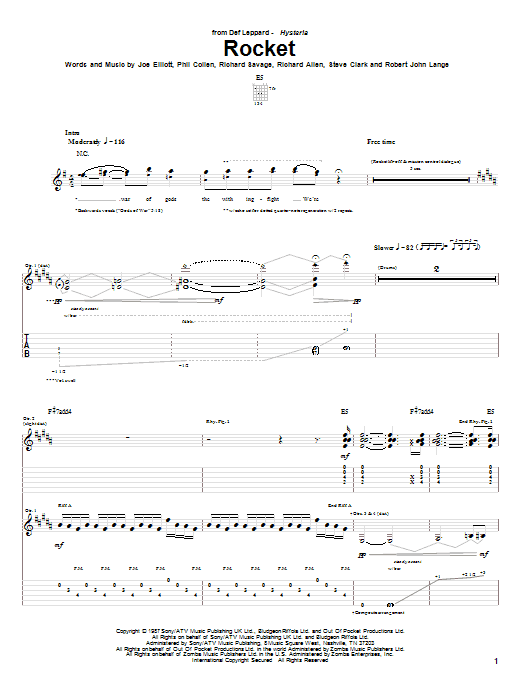 Tablature guitare Rocket de Def Leppard - Tablature Guitare