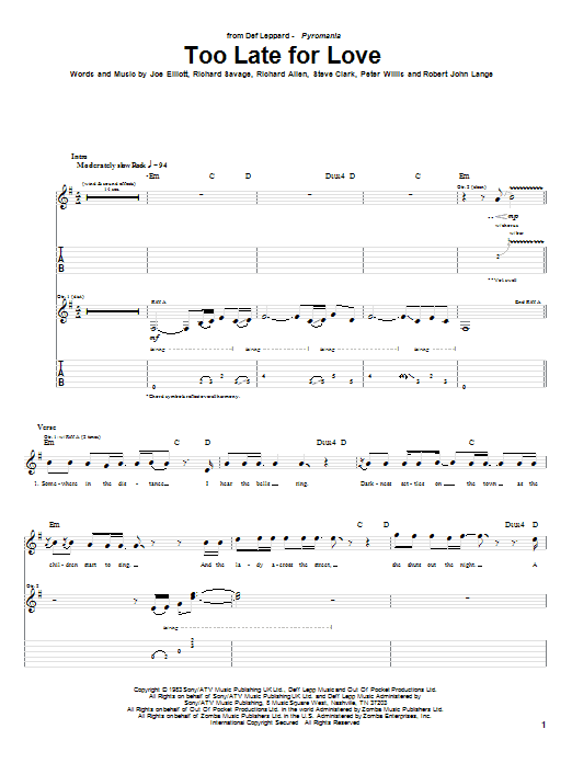 Tablature guitare Too Late For Love de Def Leppard - Tablature Guitare