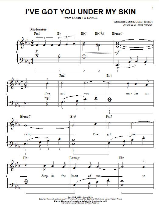 Partition piano I've Got You Under My Skin de Cole Porter - Piano Facile