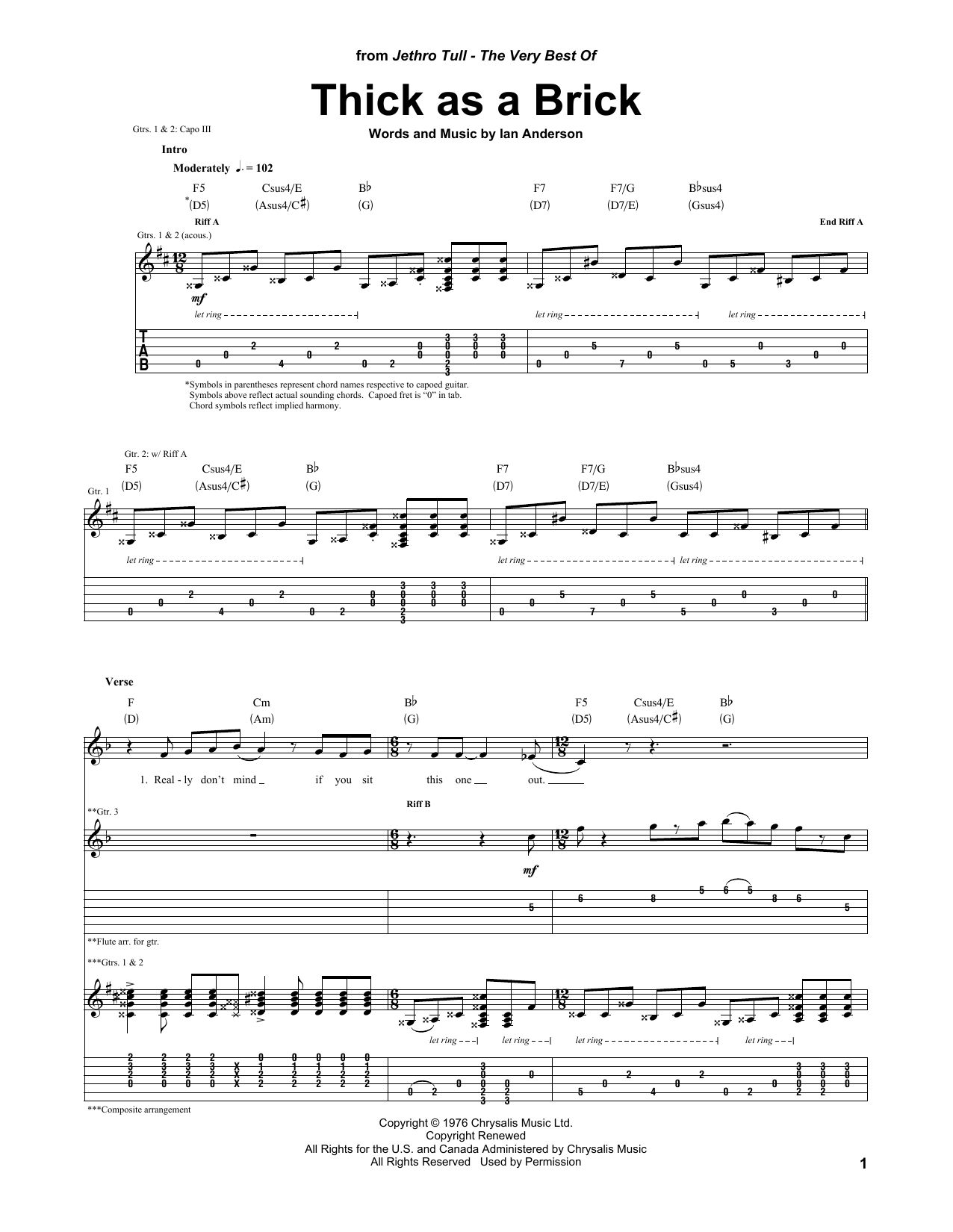 Tablature guitare Thick As A Brick de Jethro Tull - Tablature Guitare