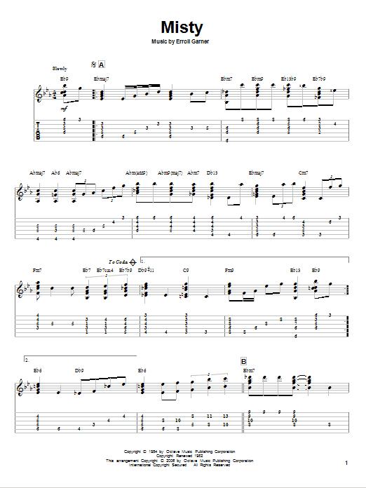 Tablature guitare Misty de Erroll Garner - Tablature Guitare
