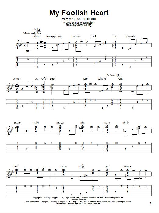 Tablature guitare My Foolish Heart de Ned Washington - Tablature Guitare